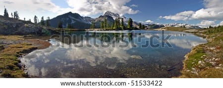 A 270 degree panorama view of Elfin lake in BC , Canada.