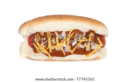 A delicious chili cheese dog with onions isolated on white