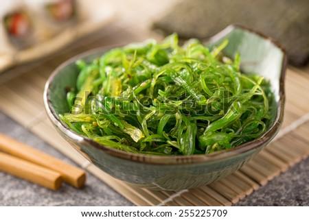 A delicious fresh seaweed salad.