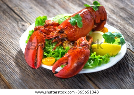 A delicious freshly boiled lobster  #365651048