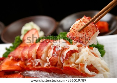 A delicious freshly steamed lobster #555019789