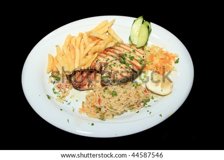 A Delicious Greek dish on black background