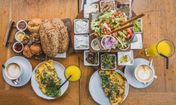 A delicious Mediterranean breakfast in the port of Tel-Aviv, Israel.