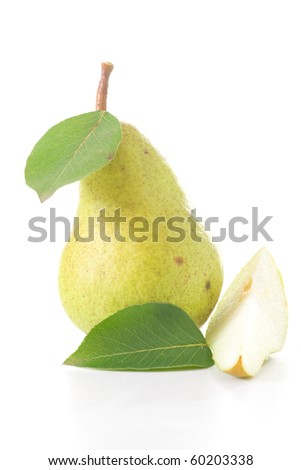 A delicious, organic and ripe pear with slice and leaves isolated