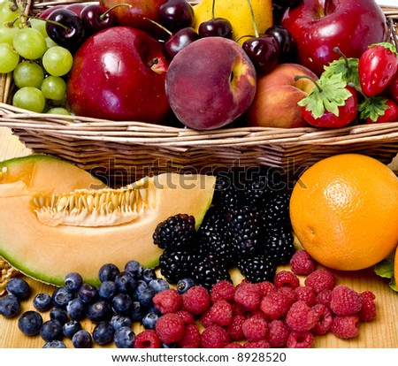 A delicious selection of fruit overflowing from a basket