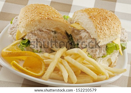 Delicious Tuna Salad Sandwich With French Fries Stock Photo ...