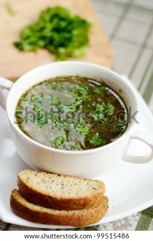 A delicious vegetable soup with sorrel