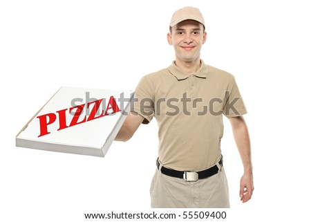 A delivery boy bringing a cardboard pizza box isolated on white background
