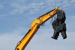 A Demolition Pulveriser on an Excavator Hydraulic Arm.