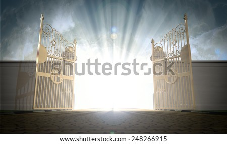 a depiction of the pearly gates ...