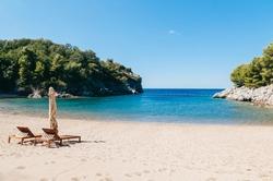A deserted beach in Montenegro. Quiet bay in the Adriatic Sea am