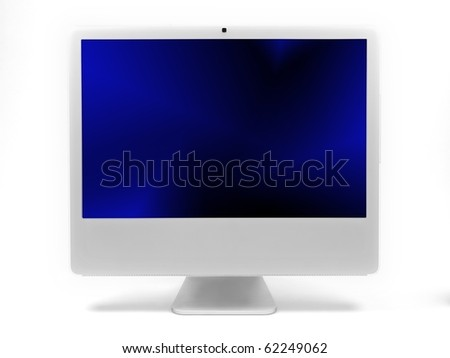 A desktop computer screen isolated against a white background