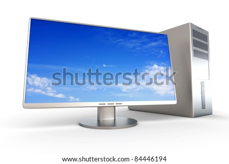 A Desktop PC System. 3D rendered Illustration. Isolated on white.