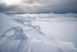 A desolate winter mountain landscape with frosted plants in the foreground and sunlight through overcast clouds in the background