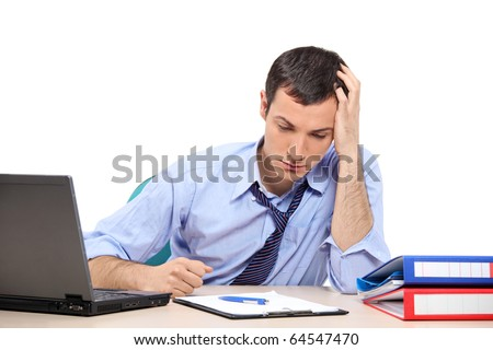 A desperate businessman in the office looking down, isolated on white background Stock photo ©