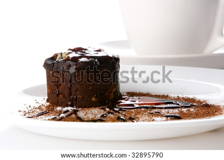 a dessert cake with chocolate and jam