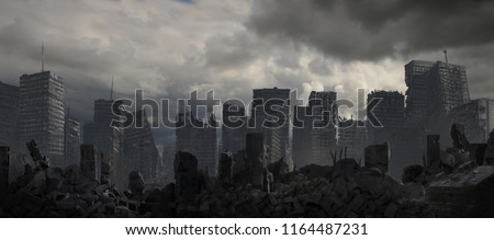 A destroyed cityscape beneath dark clouds.