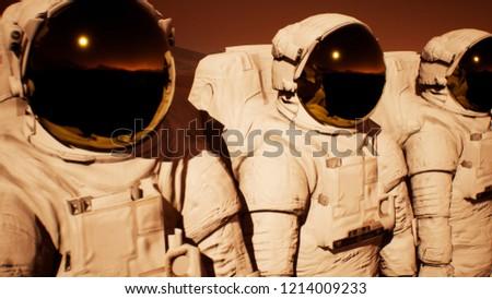 A detachment of astronauts preparing to explore the planet Mars. 3D Rendering