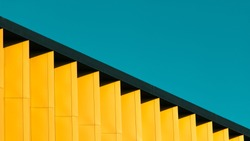 A detail of a colorful modern building in Belgrade, Serbia