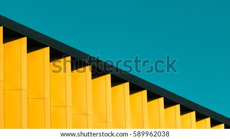 A detail of a colorful modern building in Belgrade, Serbia #589962038