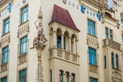 A detail of a magnificent facade of a historic apartment building at Parizska street in Prague
