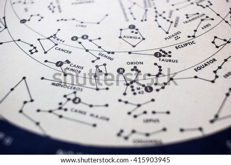 A detail of a star map showing Orion and other constellations