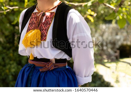 A Detail of a traditional Dalmatian Croatian costume from Cilipi, Dubrovnik. A girl wearing a folklore outfit with colorful embroidery. Authentic, cultural historic clothing from Croatia Сток-фото ©