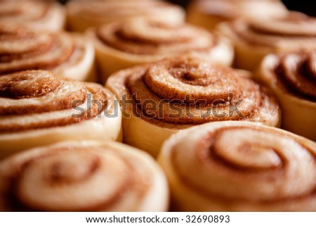 A detail of raw cinnamon buns - very shallow depth of field. - stock photo