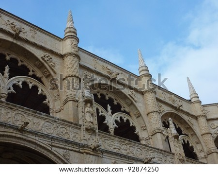 A detail of the arcade of the courtyard of the Jeronimus monastery in Belem a district of Lisbon in Portugal