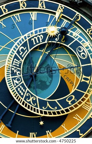 A detail of the astronomical clock in Prague, Czech republic in the Old Town Square.
