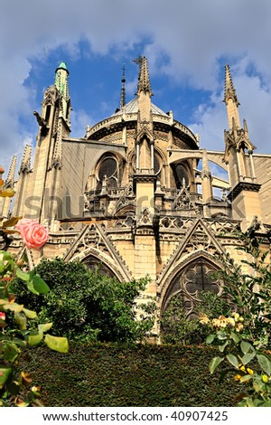 A detail of the Beautiful Notre Dame Cathedral, Paris