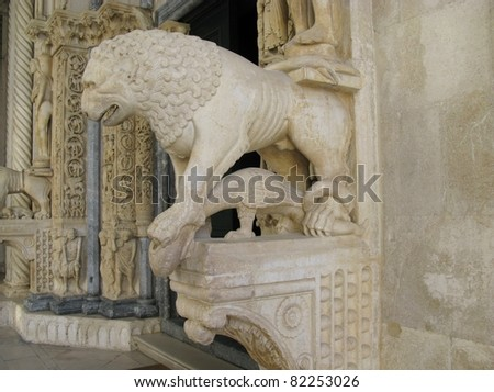 A detail of the entrance of the cathedral of St Lawrence in the historic city Trogir at the Adriatic sea in Croatia