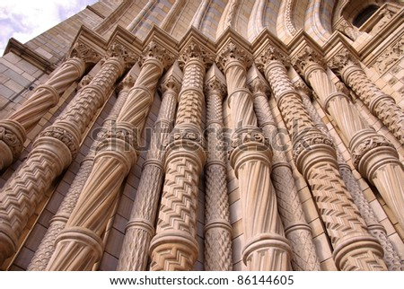 A detail of the grand entrance of the historic waterhouse building with the basalt columns in Kensington in London  accommodating the natural history museum
