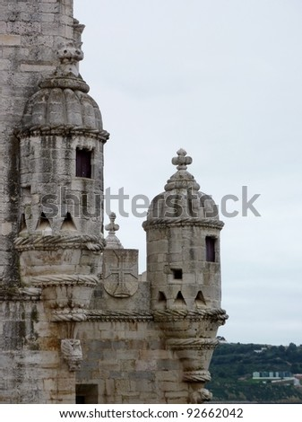 A detail of the historic tower of Belem in Lisbon in Portugal