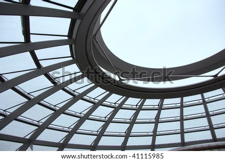 A detail of the modern dome at the old parliament building in Berlin