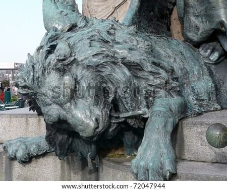 A detail of the stand of the statue of Victor Emanuel in Venice in Italy