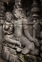A detail of the stone carvings on a temple.