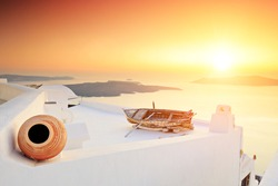 A detail of traditional house at Santorini island, Greece on sunset