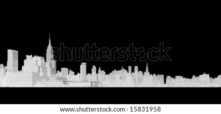 A detailed line drawing of the skyline of New York City on an easily removable black background