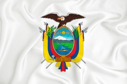 A developing white flag with the coat of arms of Ecuador. Country symbol. Illustration. Original and simple coat of arms in official colors and the right proportion