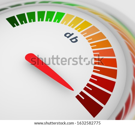 A device for measuring the sound intensity in decibels. Infographic gauge element. Level scale from green to red with arrow. 3D rendering Stock photo ©