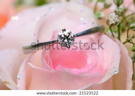 A diamond ring put on pink rose.