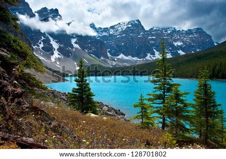 A different angle of Moraine Lake in Banff National Park.