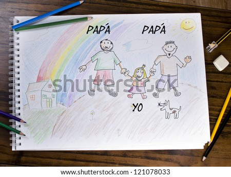A different family. Child draw about new concept of family.
