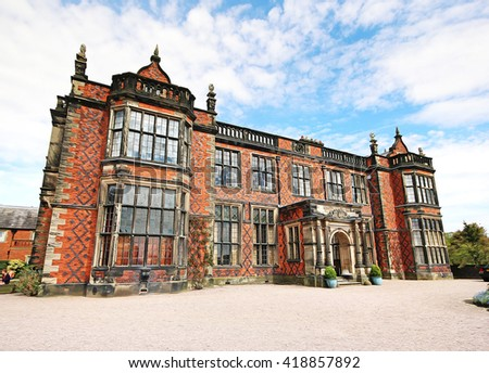 A digital anisotropic illustration of Arley Hall, Cheshire, UK