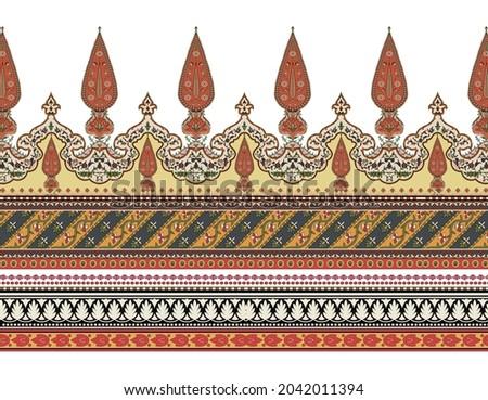 A Digital Baroque Border Motif Design Illustration Artwork for textile print For Digital painting. Design for cover, fabric, textile, wrapping paper textile design