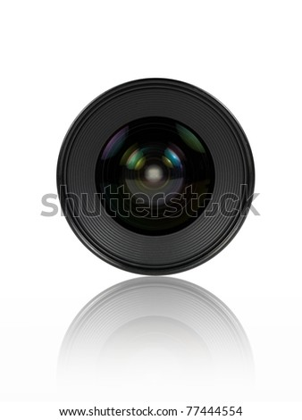 A digital camera lens isolated against a white background