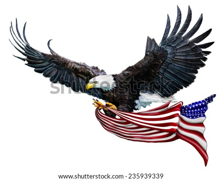 A Digital Painting of a Bald Eagle flying carrying a U.S. Flag