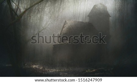A digital painting of a haunted house in a forest.