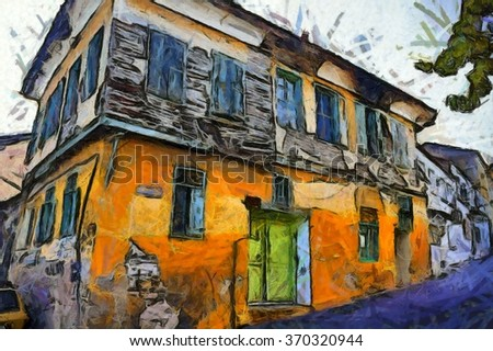 A digital painting of the colorful back streets of Kusadasi Turkey